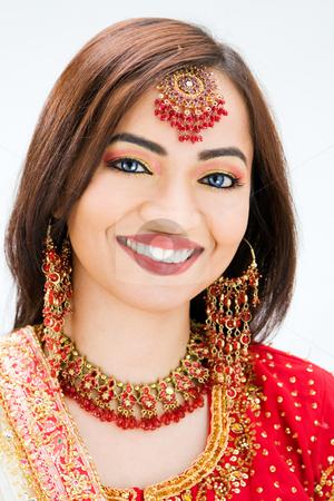 Beautiful Bangali bride stock photo, Beautiful Bangali bride in colorful dress, isolated by Paul Hakimata