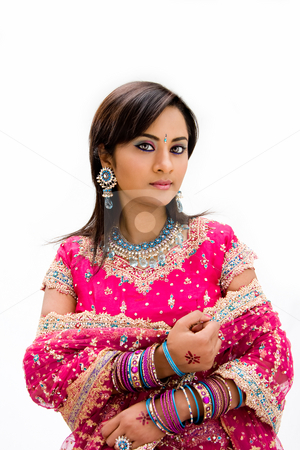 Beautiful Bangali bride stock photo, Beautiful Bangali bride in colorful dress, isolated by Paul Hakimata
