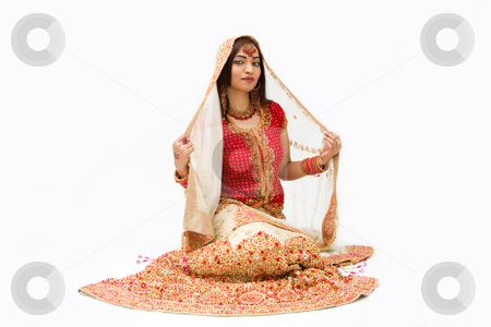 Harem girl stock photo, Beautiful harem girl or belly dancer or Hindu bride sitting, isolated by Paul Hakimata