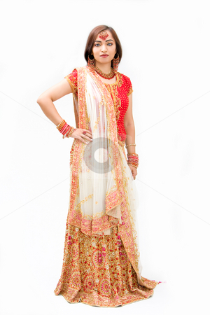 Beautiful Bengali bride stock photo, Beautiful Bengali bride in colorful dress, isolated by Paul Hakimata