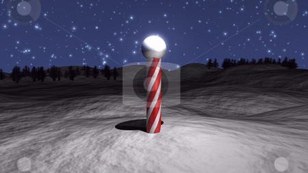 3D North Pole stock photo, 3D North Pole illustration with snow and stars by John Teeter