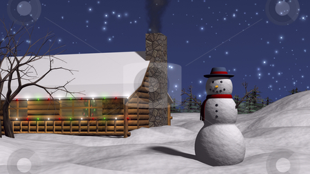 Snowman in yard stock photo, 3D snowman illustration in yard with twig arms by John Teeter