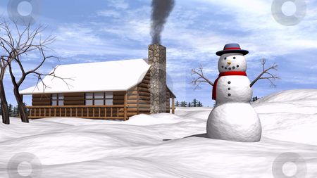 Snowman in the snow stock photo, 3D illustration of a snowman in the yard by John Teeter