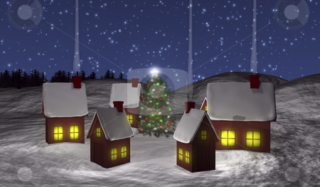 Chistmas village with snow stock photo, Christmas village 3d illustration with snow by John Teeter