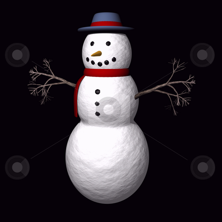 Snow man with twig arms stock photo, Snowman on black background with twig arms by John Teeter