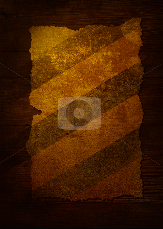 Parchment stripped aged stock photo, Piece of worn paper attached to a dark wood background by Michael Travers