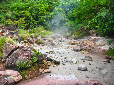 Volcanic mud pool stock photo, Volcanic mud pool with bubbles in a green environment by Karin Claus
