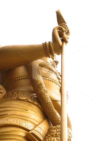 High golden contrast stature stock photo, High contrast golden asian stature seen from below by Karin Claus