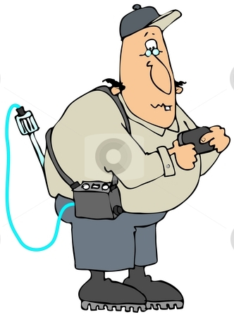 Gas Man stock photo, This illustration depicts a worker looking at a pager with a gas detector hanging over his shoulder. by Dennis Cox