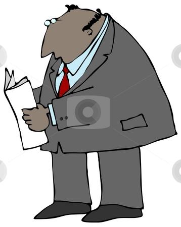 Businessman Reading A Paper stock photo, This illustration depicts a businessman reading a paper. by Dennis Cox