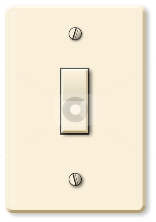 Light Switch stock photo, This illustration depicts a rocker style electrical wall switch. by Dennis Cox