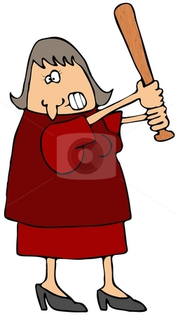 Irate Woman stock photo, This illustration depicts an angry woman holding a baseball bat. by Dennis Cox