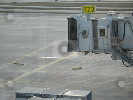 Empty airplane gate stock photo, Empty airplane gate by Mbudley Mbudley