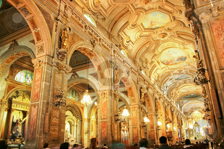 Cathedral fo Santiago fo Chile stock photo, The golden interior of the Cathedral of Santiago, capital of Chile. by Rafael Franceschini