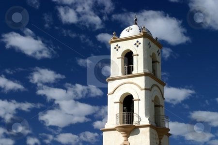 Ojai Tower stock photo, The Ojai post office tower with a nice blue sky and clouds by Henrik Lehnerer
