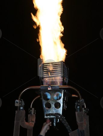 Burner stock photo, Burner with flames of a hot air balloon by Henrik Lehnerer