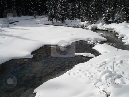 Snowy Colorado Stream stock photo, A stream works its way through the snow and ice in Colorado in winter. by Ben O'Neal