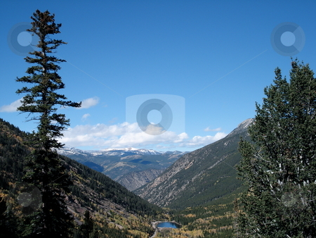 Mountain View stock photo, A view down through a scenic mountain valley near Steamboat Springs, Colorado. by Ben O'Neal