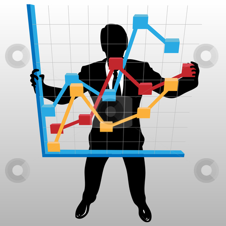 Business man holds up financial profit growth chart stock vector clipart, A businessman silhouette holds up a financial profit growth chart, in a view from above. by Michael Brown