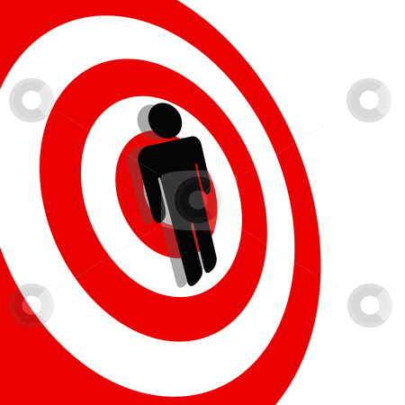 International Symbol Man on Red Target Bullseye stock vector clipart, International symbol for a Targeted Person. A Symbol Man on a Red Target Bullseye. by Michael Brown