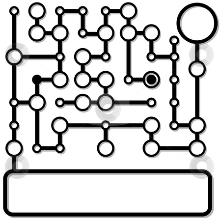Matrix connection nodes form a network copyspace background stock vector clipart, A matrix of connection nodes form a network copyspace background, with shadow on white. by Michael Brown