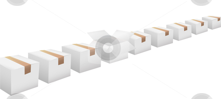 Open carton in line of white shipping boxes stock vector clipart, An open carton in a line of closed, white shipping boxes with taped lids, on white. by Michael Brown