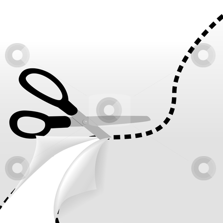 Scissors cut wavy dotted line separate 2 sides of page stock vector clipart, Scissors cut a wavy dotted line to separate a page into 2 pages and reveal part of the page underneath. by Michael Brown