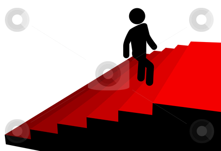 Symbol man climbs up to top of red carpet stairs stock vector clipart, A symbol person climbs up a red carpet stairs to a platform of success at the top. by Michael Brown