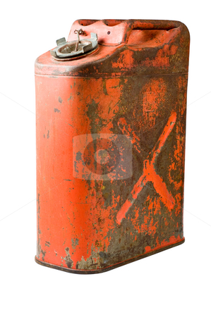 An old five US gallon gas can stock photo, Gas can, sometimes called a jerry can. isolated with clipping path by RCarner Photography