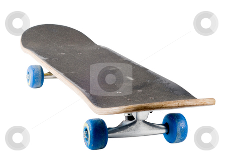 A well used skateboard, isolated stock photo, Skateboard isolated with a clipping path by RCarner Photography