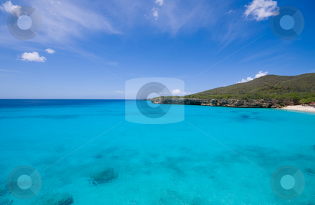 Blue waters stock photo, Blue caribbean bay view by Karin Claus