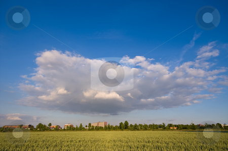 Dramatic cloud stock photo, Dramatic cloud over rural farmland by Karin Claus