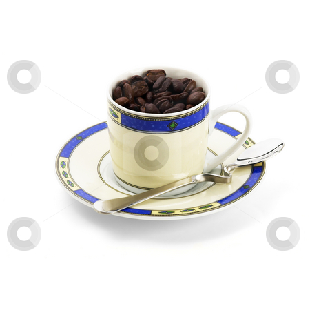 Cup of coffee stock photo, Cup of roasted coffee beans isolated on white background by Francesco Perre