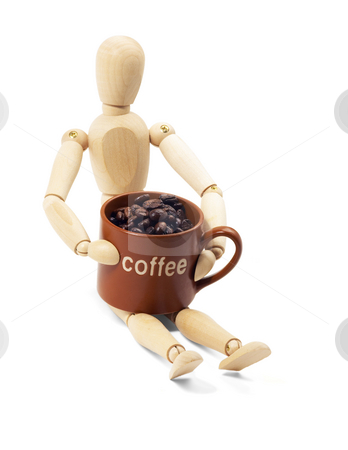 Wood mannequin and coffee stock photo, Wood mannequin and coffee cup isolated on white background by Francesco Perre