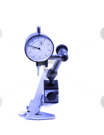 Micrometer and caliper stock photo, Precision micrometer and caliper tools isolated on white background by Francesco Perre