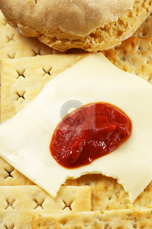 Bread and cheese stock photo, Bread ,crackers and cheese with tomato sauce by Francesco Perre