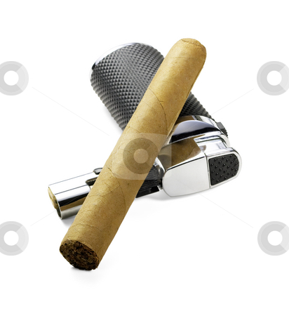 Cigar and lighter stock photo, Cuban cigar and lighter isolated over white background by Francesco Perre