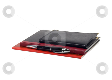 Notebooks and pen stock photo, Assorted notebooks and fountain pen isolated on white background by Francesco Perre