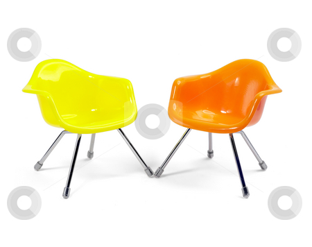 Plastic chair stock photo, Coulored plastic chairs isolated on white background by Francesco Perre