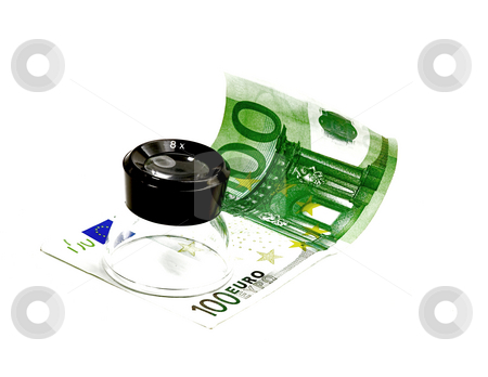 One undred euro bill and a lupe stock photo, One undred euro bill and lupe on white background by Francesco Perre