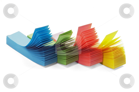 Memo sticker stock photo, Assorted colour memo stickers isolated on white background by Francesco Perre