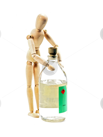Wood mannequin stock photo, Wood mannequin with flammable liqiod on glass bottle isolated on white background by Francesco Perre
