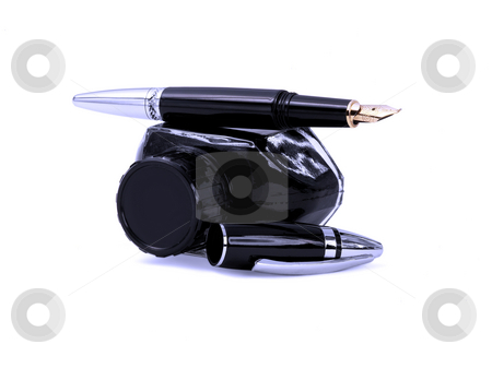 Fountain pen and ink stock photo, Fountain pen and black ink bottle isolated on white background blue filter by Francesco Perre