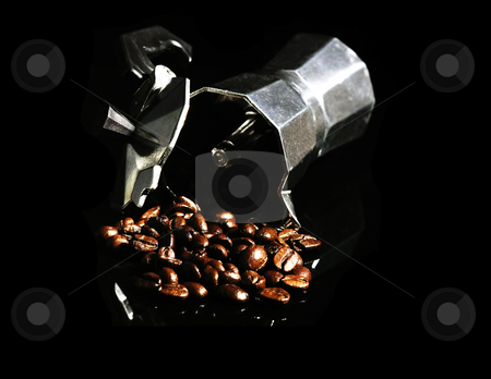 Coffee beans and mocha machine stock photo, Coffee beans and mocha machine on black background by Francesco Perre