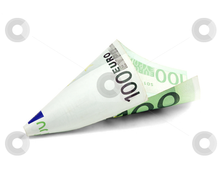 One undred euro bill  stock photo, One undred euro bill on white background by Francesco Perre