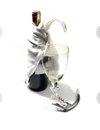 Red wine bottle and glass stock photo, Red wine bottle and glass with corckscdrew on white background by Francesco Perre