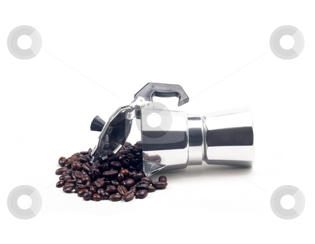 Coffee beans and machine stock photo, Coffee beans and mocha coffee machine on white background by Francesco Perre