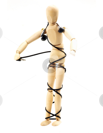 Wood mannequin stock photo, Wood mannequin with stereo headphone isolated on white background by Francesco Perre