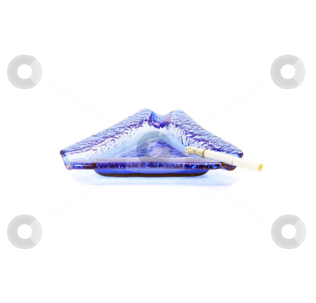 Blue ashtray stock photo, Blue murano glass ashtray with lighted cigarette isolated on white background by Francesco Perre