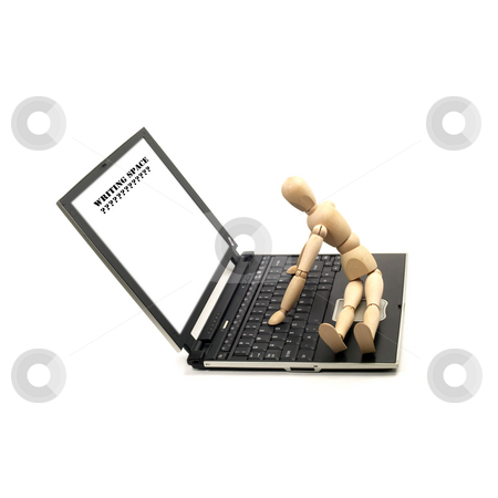 Wood mannequin and laptop stock photo, Wood mannequin sitting on a laptop isolated on white background by Francesco Perre